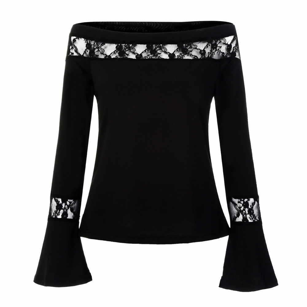 CHAMSGEND 2018 Fashion Women Off Shoulder Solid Lace Flare Sleeve Blouse High Quality Winter Women's Clothing Oc19