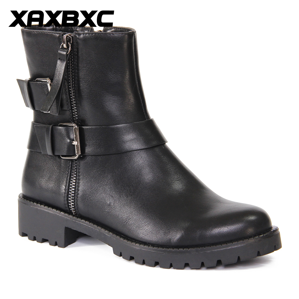 XAXBXC 2018 Retro British Winter Black PU Leather Buckle Brogues Short Ankle Boots Warm Women Boots