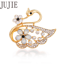 JUJIE Fashion Swan Brooches For Women 2019 Crystal Animal Pins Brooch Scarf Jewelry Dropshipping jujie fashion crystal deer brooches coat clothing scarf lapel pins elk corsage fashion jewelry