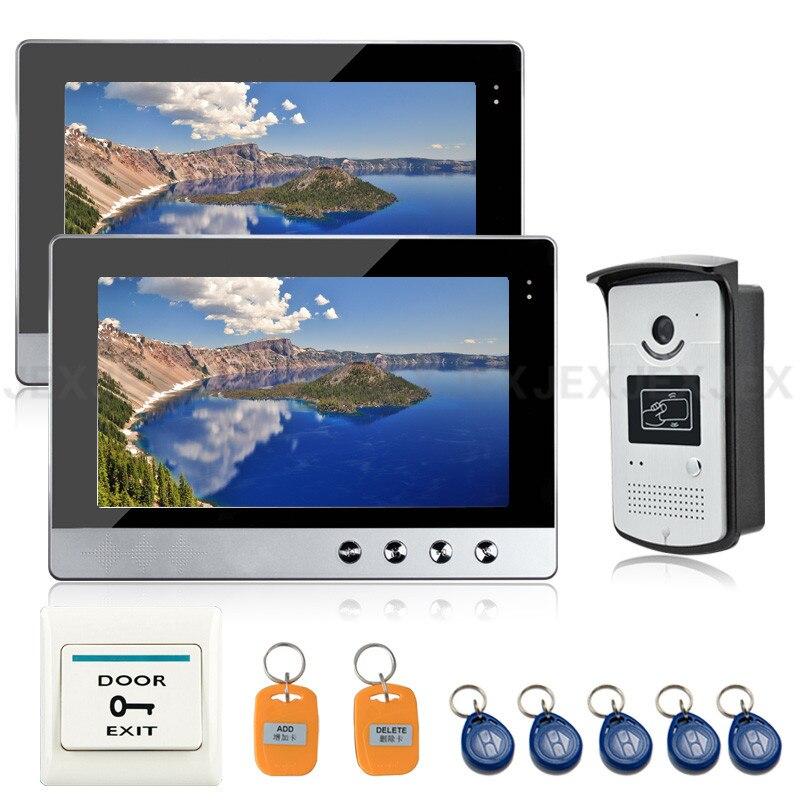 JEX 10`` Color LCD Video Door Phone Doorbell Speaker Intercom System Kit 2 Monitor + RFID Access Control COMS Camera In Stock