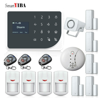 SmartYIBA WIFI APP Wireless Alarmes Home Alarm Security Burglar System Smoke Fire Detector Loudly Horn Door Open/Close Alarm