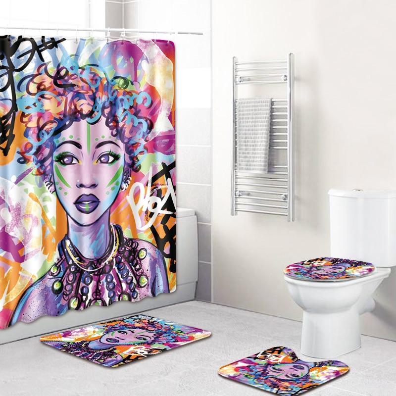 3D African Girls Shower Curtain Bath Mat Toilet Pad Set Flannel  Toilet Bathroom Decor Carpet Waterproof Shower Curtain Set