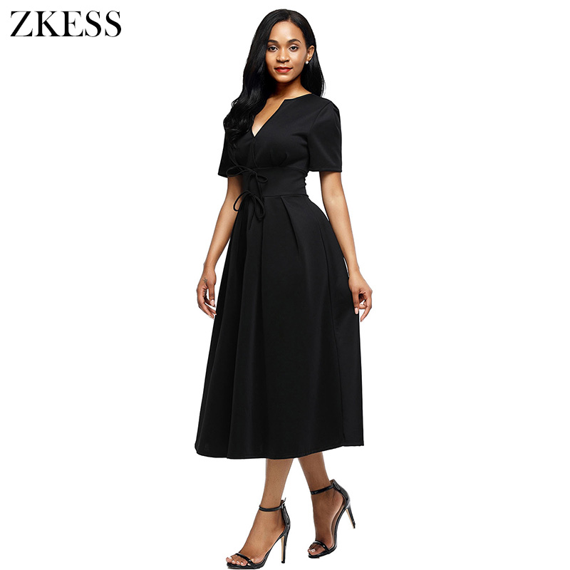 Zkess New Women Split Neck Short Sleeve Midi Dress with Bow Knots Fashion Casual Party Club Skater Dresses LC61692