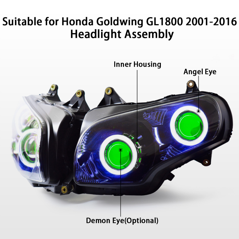 Buy Kt Headlight For Honda Goldwing Gl1800 2001 Wiring Diagram Communication 2017 Led Angel Eye Green Demon Motorcycle Hid Projector Assembly 15 14 13 12 11 From
