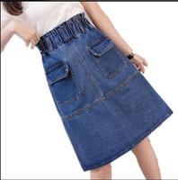 S 5XL Large Size Denim Skirts Women Pockets Slim A Line Knee Length High Waist Casual Jeans Skirts Elastic Waist Beach Skirts