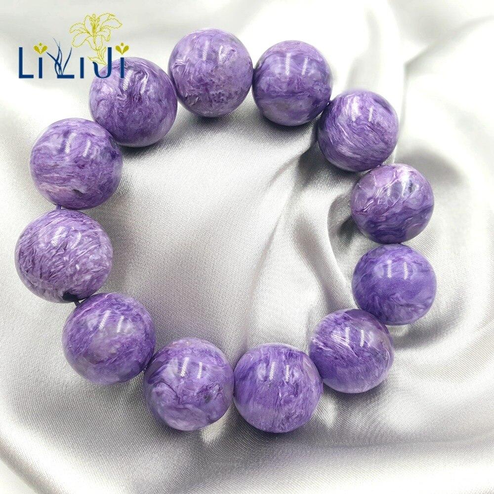 LiiJi уникальный высокого качества 20 мм чароитовые бусы огромный браслет для женщин или мужчин