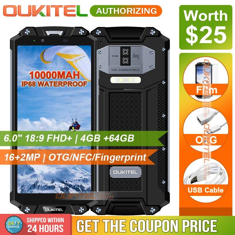 OUKITEL WP2 IP68 Étanche Poussière Résistant Aux Chocs Téléphone Mobile 4 gb 64 gb MT6750T Octa Core 6.0 18:9 10000 mah D'empreintes Digitales Smartphone