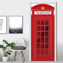 90x200cm British London Red Telephone Booth Door Sticker DIY Home Decor Decal Waterproof PVC Door Mural Self Adhesive Wallpapers(China)