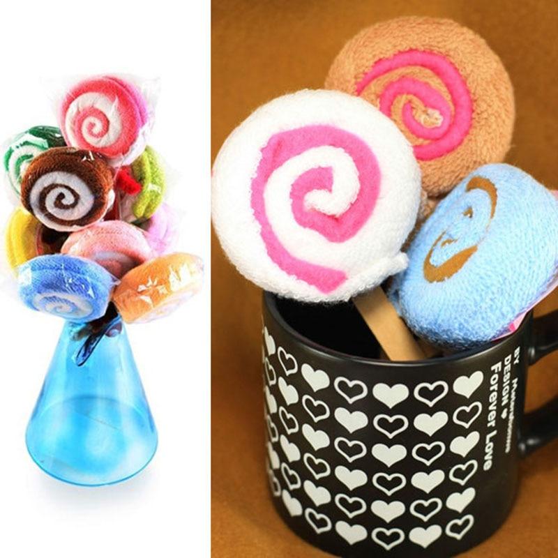 Lollipop Shape Washcloth Fiber Towel Gift Baby Shower Present Bridal Ornament Wedding Party Favor AN88