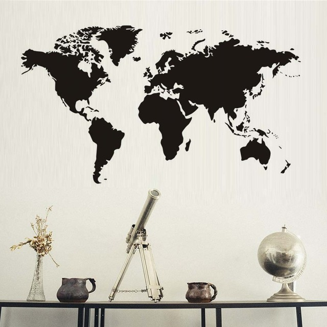 DCTOP Creative Home Decor World Map Atlas Wall Sticker Black - Vinyl wall decal adhesive