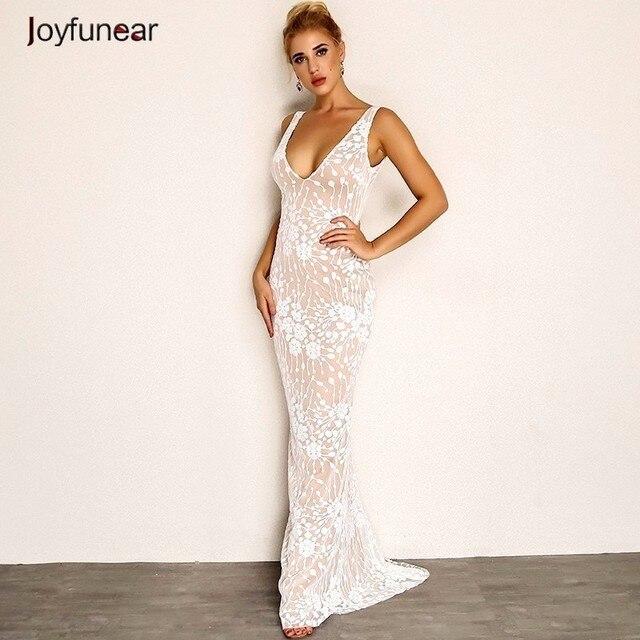 Joyfunear Sexy V Neck White Summer Maxi Dress 2018 New Backless Floral Long  Party Dress Women 8da915a9827b