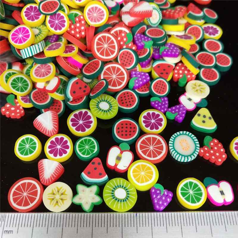 20g/lot 1cm Fruits Polymer Clay Sprinkles Plastic Klei Mud Particles Watermelon Strawberry Pitaya Lemon Grape Apple Kiwifruit