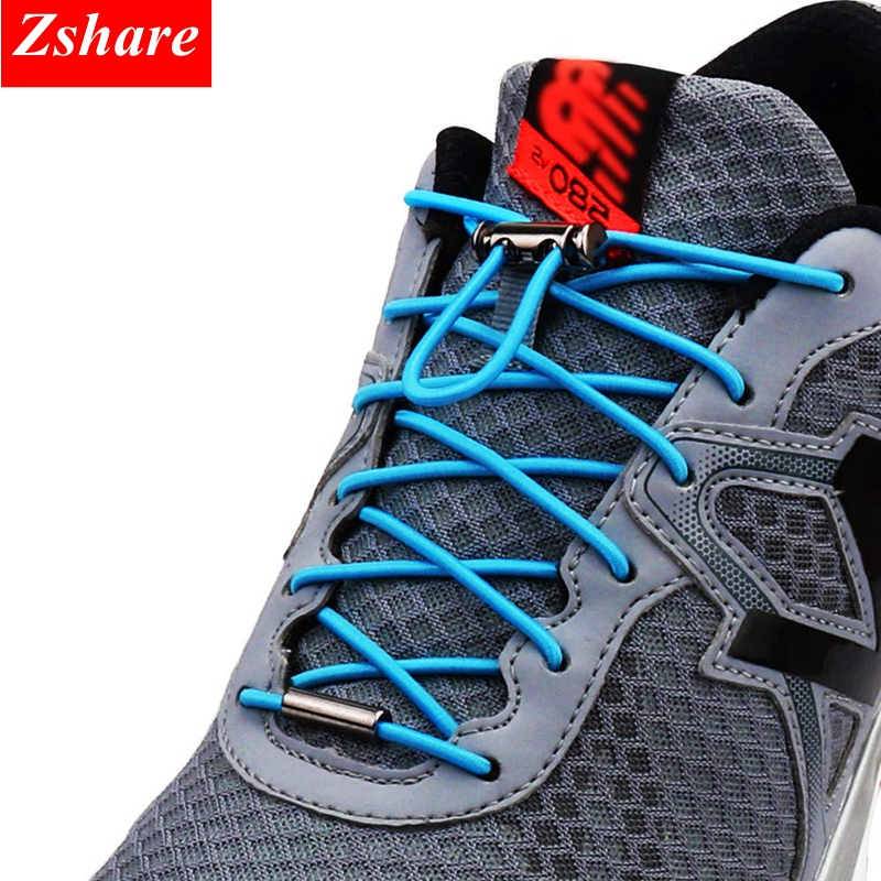 1Pair Quick Shoelaces Elastic No Tie Shoe Laces Round Sneakers Shoelace Kids Adult Unisex Lazy Laces 18 Color Strings Metal Lock