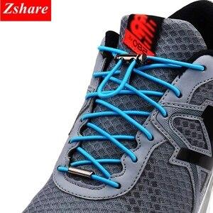 Image 1 - 1Pair Quick Shoelaces Elastic No Tie Shoe Laces Round Sneakers Shoelace Kids Adult Unisex Lazy Laces 18 Color Strings Metal Lock