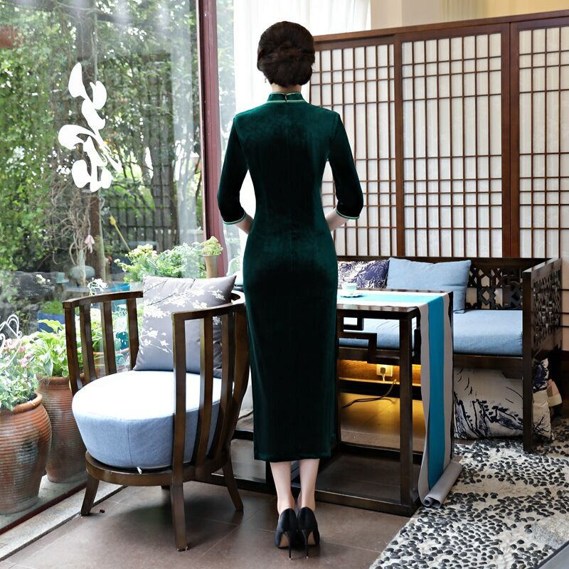 Femmes M L Cheongsam 92967 Long Qipao 8434 Mince De Xxl Taille Style c3L4ARj5Sq