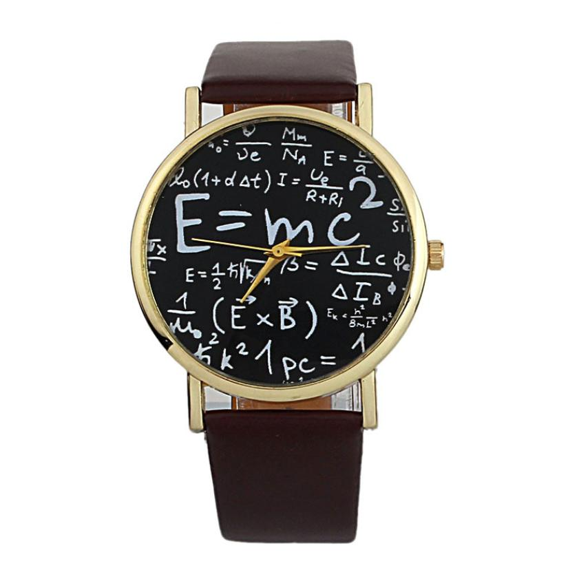 2017 Luxury Einstein E=MC2 Equation Mathematical Formula Math Symbols Faux Leather Analog Quartz Watch Watch Wristwatch