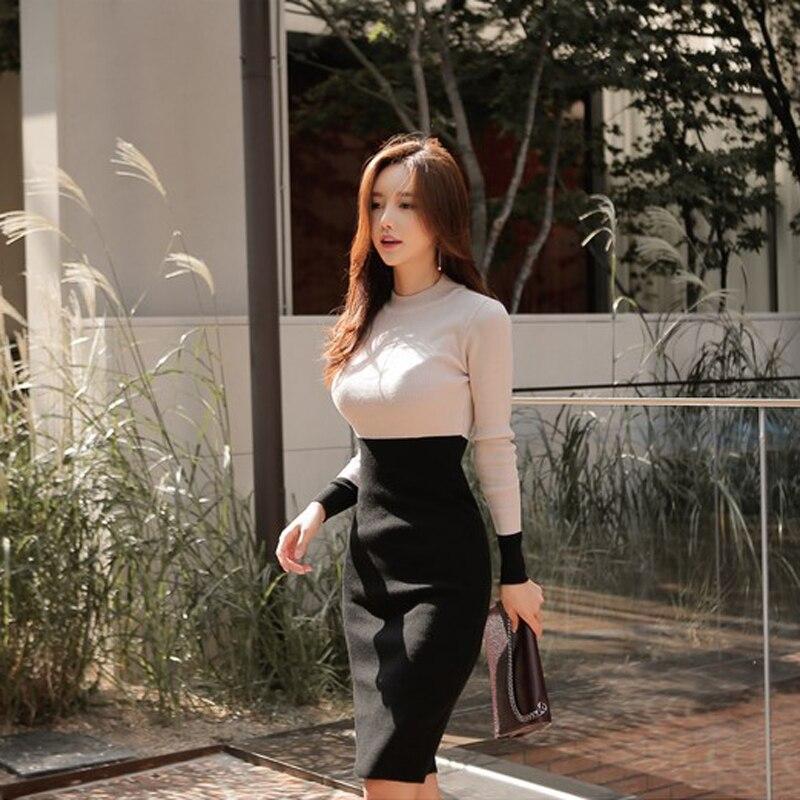 Spring Hit Color Patchwork Contrary Bodycon Dress Women Slim Casual Warm Round Neck vestidos femininas