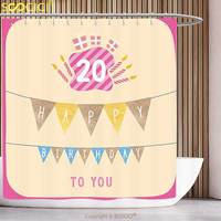 Cool Shower Curtain 20th Birthday Decorations Girly Party Themed Cartoon Flags Cakes Boxes Image Light Pink and Purple