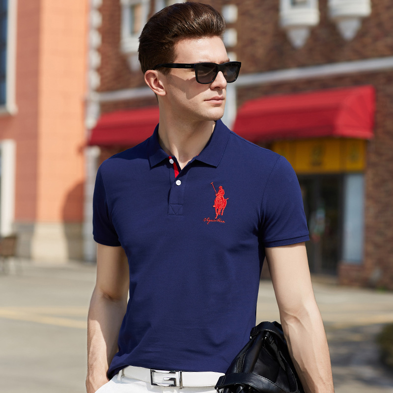 2019 New Mens   polo   shirt 3d deer embroidery short sleeve 100% cotton solid color brand clothing plus size XXXL male tops & tees