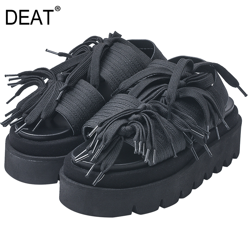 DEAT 2019 New Spring Summer Round Toe Shallow Black Bandage Fringe Personality Casual Wedges Heels