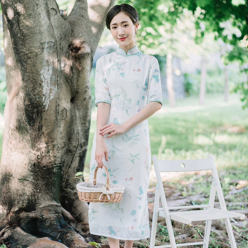 Autumn New Stand Collar Button Printing Long Section Chinese Cheongsam Improved Daily Dress Was Thin Slim