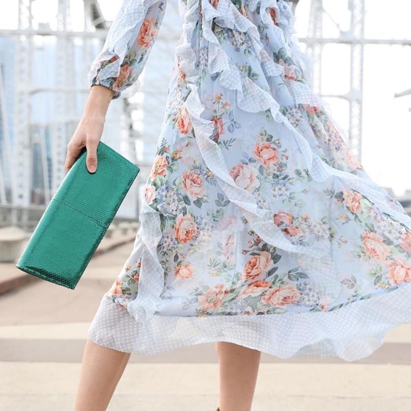 Femmes Élastique Floral Imprimé As Taille Picture Manchette Garniture Lilas Robe Dot Long Et Show Ruche Cascade nBwHH