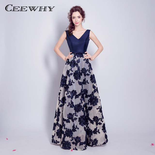 CEEWHY Navy Blue Embroidery Evening Dress Elegant Prom Formal Dress ...