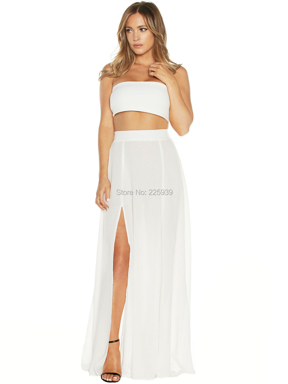 daefa9a8fce New Arrival Strapless Full Length A Line High Slit 2 Piece Long Two Piece  White Crop Top Prom Dresses Simple Fashion Gowns