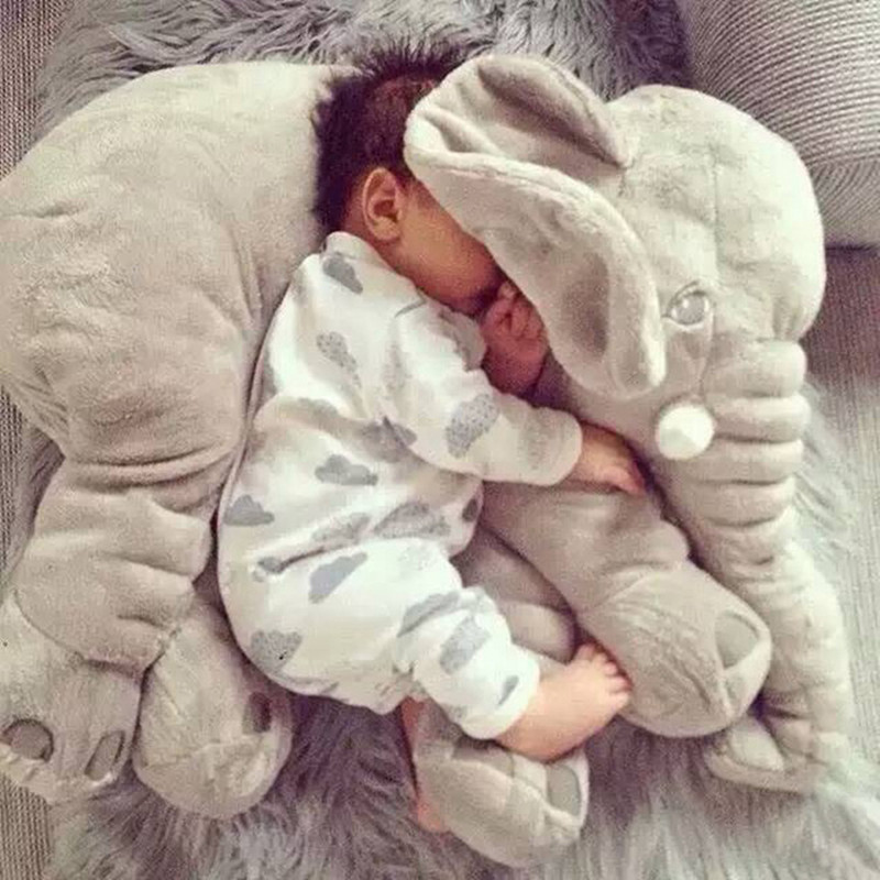 2019 Hot 40cm/60cm Large Plush Elephant Doll Kids Sleeping Soft Back Cushion Cute Stuffed Elephant Baby Accompany Doll Xmas Gift
