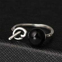 Anenjery Vintage Fashion 925 Sterling Silver Knot Black Pearl Opening Thai Silver Ring For Women S-R120(China)
