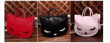2017 women bag handbag high quality Handbags Totes elegant ladies embroidery cat sleep eye pu leather tote black/pink/red