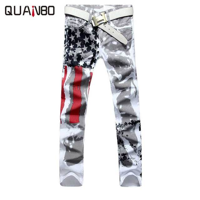 Большой размер 28-48 Бренд мужской брюки 2017 Новый Белый Печатных Моды для Мужчин Джинсы Упругие Печати Американский Флаг джинсы Hombre