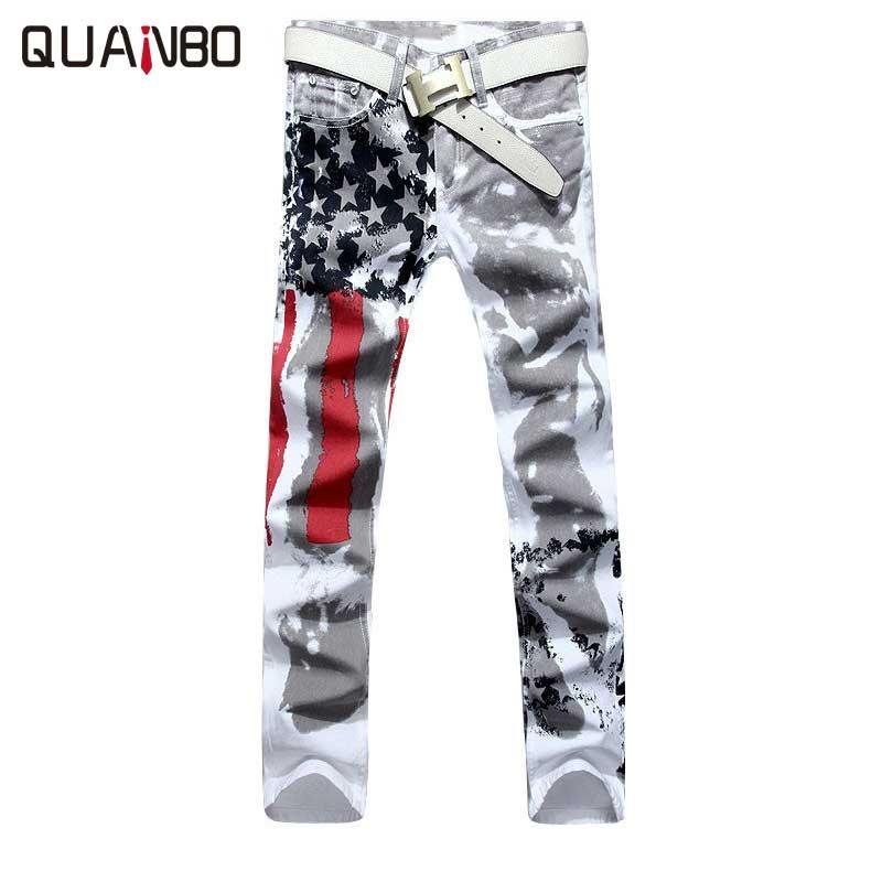 Plus Size 28-42 Brand Men's Pants 2019 New White Printed Fashion Men Jeans Elastic Printing American Flag Jeans Hombre