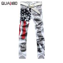 plus size 28-42 Brand Men's pants 2019 New White Printed Fashion Men