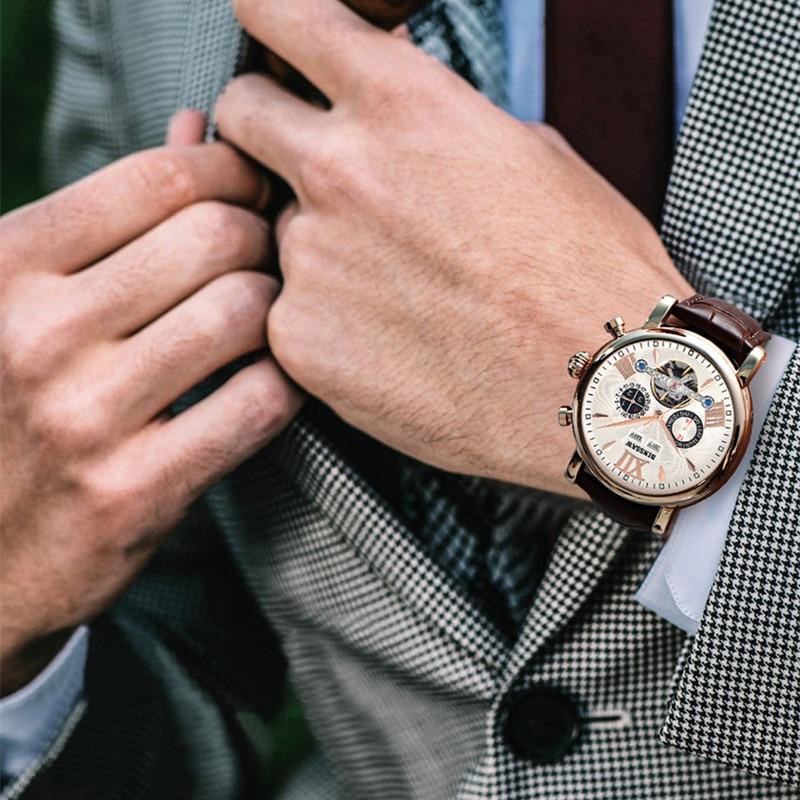 BINSSAW montre mécanique hommes Sport Tourbillon automatique Top luxe marque Relojes Hombre cuir Phase de lune montres relogio - 6