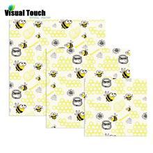 Визуальное прикосновение пчелиный принт ткань 3 размера пчелиный воск обертывание органическое многоразовое пищевое обертывание s Экологичное хранение натуральный ноль отходов нетоксичный