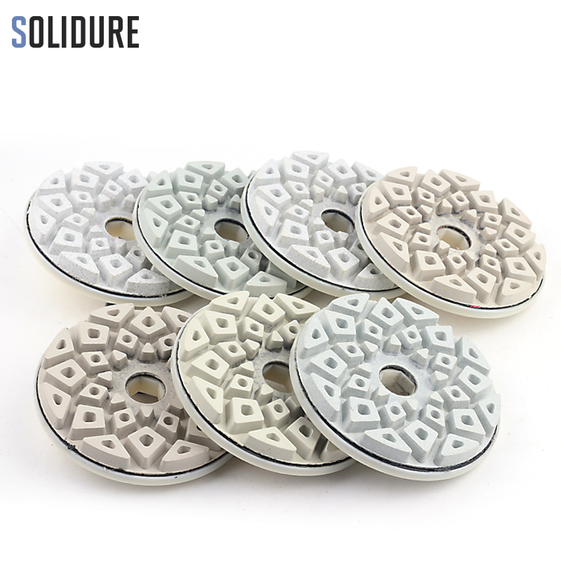 Tampons de polissage de bord de diamant de 7 pièces/ensemble 5 pouces 125mm avec le dos de serrure d'escargot pour polir le granit, bord en pierre machiné par marbre