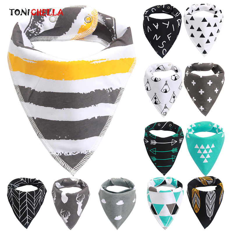 Baby Bandana Bibs Triangle Soft Cotton Toddler Print Waterproof New Fashion Scarf Infant Saliva Feeding Towel Accessories CL5043