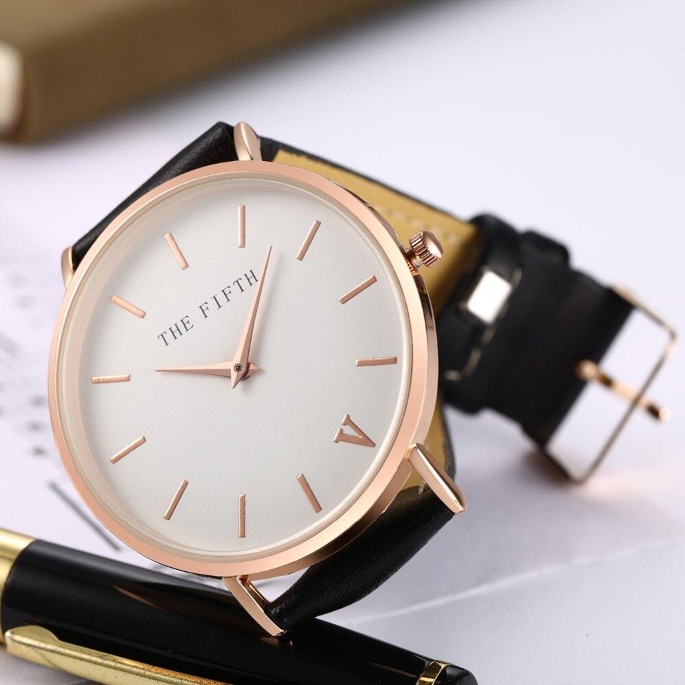 Купить 2018 пятый Кожаный ремешок наручные минималистский стиль часы ... 0f428edc69758