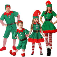 Christmas dancing party costume adult Women Men and Boy Girl Christmas Elf Costume Kids Adults Family Green Elf Cosplay Costumes