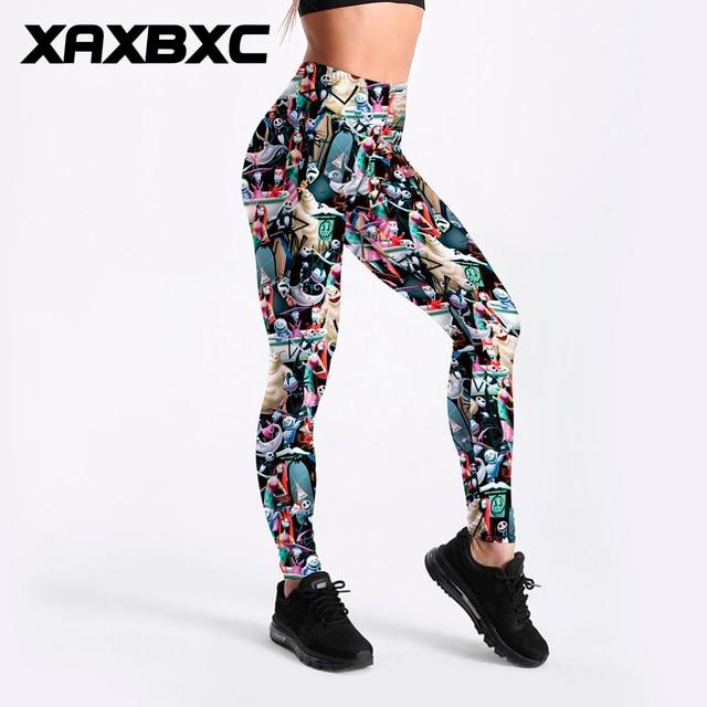 XAXBXC 3513 Sexy fille crayon pantalon le cauchemar avant noël imprime élastique mince Fitness entraînement femmes Leggings grande taille