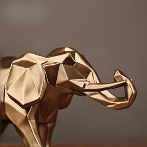 Image 5 - 幾何学的抽象黄金象の彫像樹脂動物クラフト家の装飾象の彫刻装飾創造的なギフト