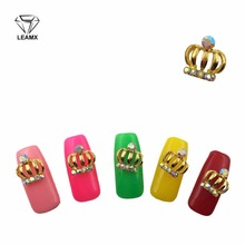 LEAMX 10pcs/pack 3D Nail Jewelry Gold Crown Rhinestone Decoration Metal ornament Nails Art hollow out Design Accessories