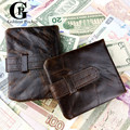 Cowhide! Men Bifold Wallets Wax Oil Skin Coin Purse Real Leather High Quality Man Wallet Vintage Designer Male Carteira Wallets