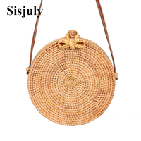 Sisjuly 2018 Round Straw Bags Women Summer Rattan Bag Handmade Woven Beach Cross Body Bag Circle