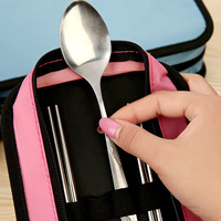 Travel Tableware Six Piece Stainless Steel Tableware Set Square Couple Chopsticks And Spoon Bowl Three In
