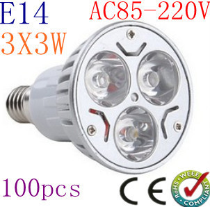 100pcs/lot High power CREE E14 (GU10 MR16 E27) 9W Energy Saving LED Light Bright led bulbs LED bulb Spotlight Light 85-265V