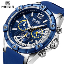 купить MEGIR Chronograph Sport Men Watch Waterproof Silicone Quartz Watches Men Clock Hour Army Military Wristwatches Relogio Masculino по цене 1558.36 рублей