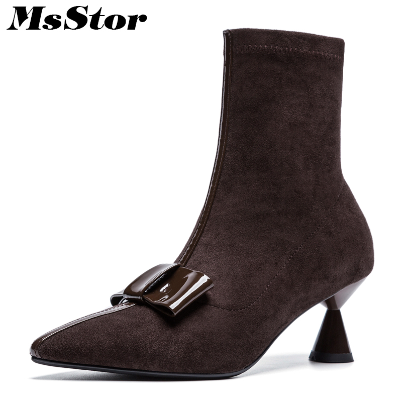 MsStor Pointed Toe High Heel Women Boots Fashion Elegant Mid-Calf Boots Women Shoes Elegant Concise Butterfly Knot Boots Women miquinha mixed color plaid pattern butterfly knot ankle strap square heel women sandals elegant concise women casual sexy shoes