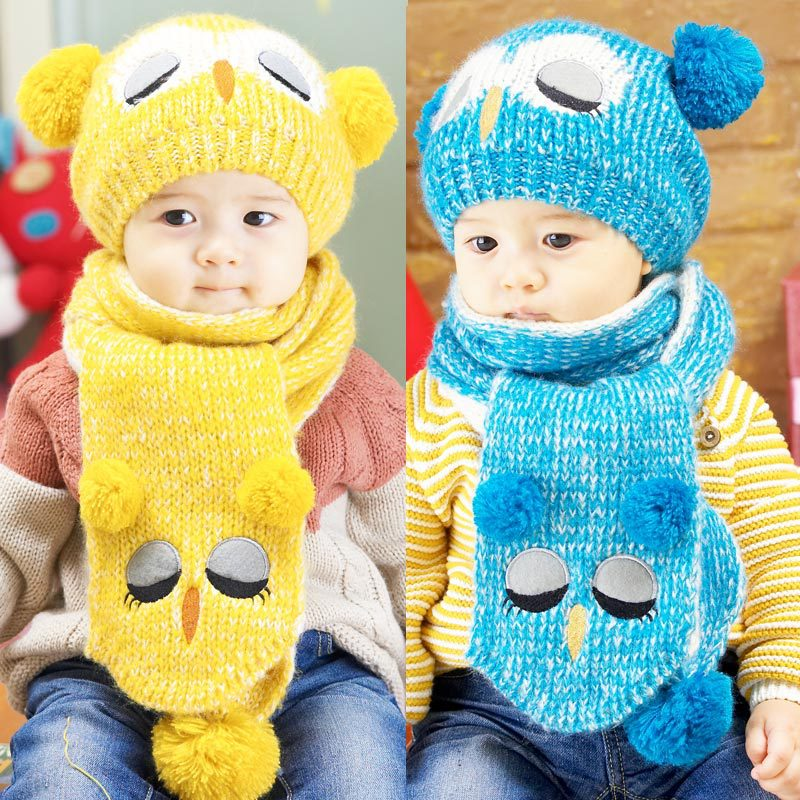Winter Baby Hat Scarf Infant Toddler Portable Popular Set Boy Girl Kids Knitted Warm Hat Cap + Scarf Baby Hats wears 1-4 years